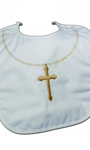 Cotton Christening Bib with Fancy Embroidered Gold Cross & Chain