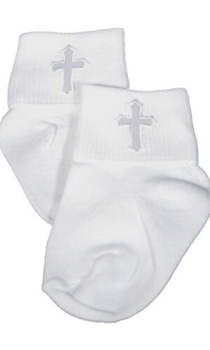 Unisex White Cotton Anklet Socks with Embroidered Cross