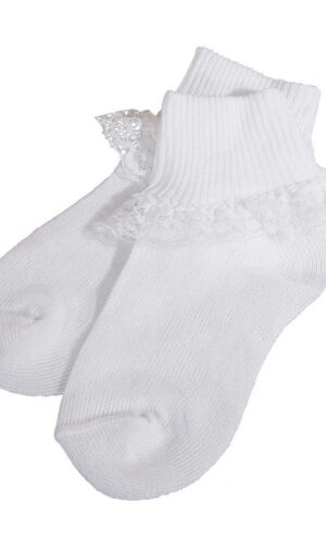 Girls White Cotton or Nylon Anklet Socks with Lace
