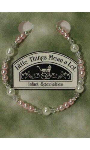Adjustable Pink Pearl, Crystal and Sterling Silver Bracelet