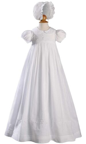 """Girls 33"""" Short Sleeve Gown with Hand Embroidery"""