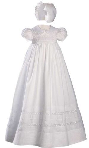 Girls 33? White Cotton Short Sleeve Christening Baptism Gown with Hand Embroidery