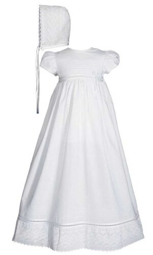 Girls 30? White Cotton Dress Christening Gown Baptism Gown with Lace