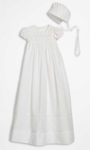 Girls 34? Cotton Dress Christening Gown Baptism Gown with Hand Embroidery