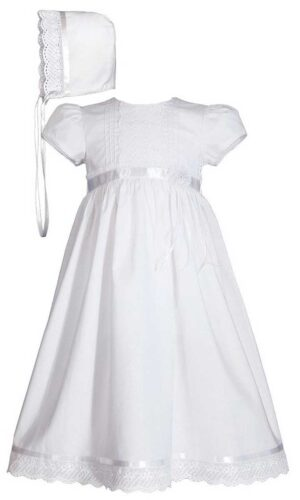 Girls 24? Cotton Dress Christening Gown Baptism Gown with Lace and Ribbon