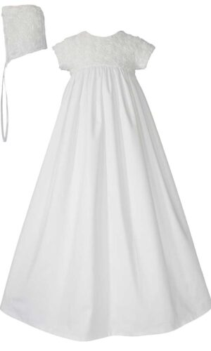 Girls 32? Cotton Sateen Christening Gown with Rosette Covered Bodice
