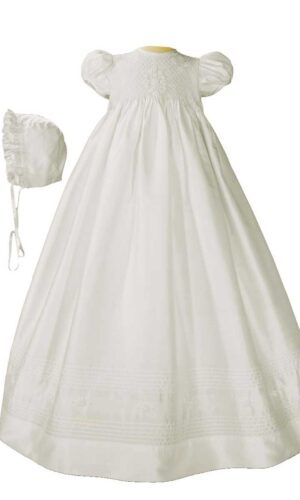 Girls 32? White Silk Christening Baptism Gown with Smocked Bodice