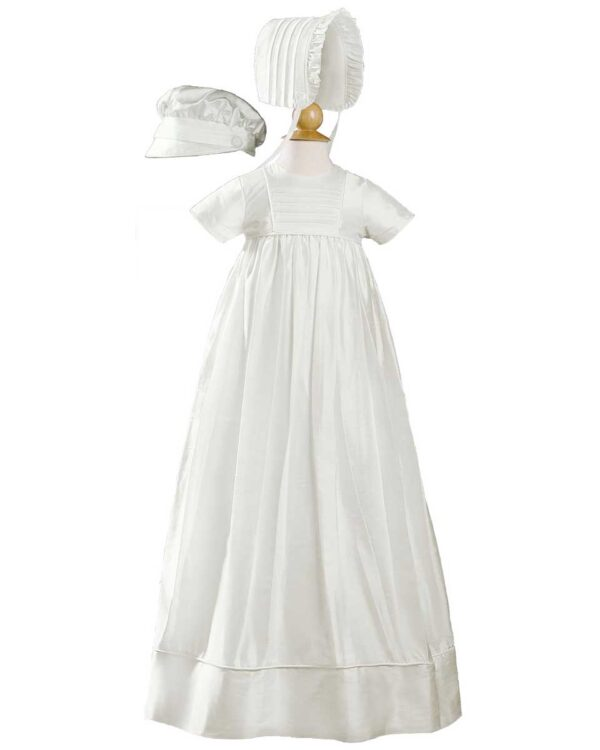 Unisex 34? Short Sleeve Silk Dupioni Christening Baptism Family Heirloom Gown
