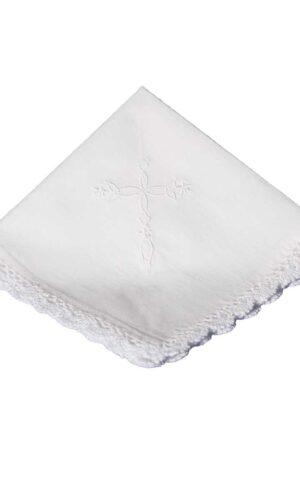 Cotton Christening Hankie Handkerchief Heirloom with Embroidered Cross