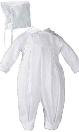 Boys Pleated Christening Baptism Coverall with Embroidered Shamrock Cluster and Hat
