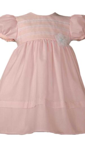 Girls 16? Pink Organza Overlay Christening Gown with Pin Tucking