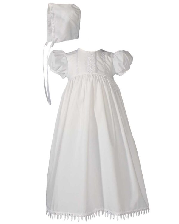 Girls 24? Poly Cotton Teardrop Lace Christening Baptism Gown with Bonnet