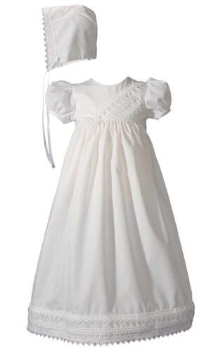Girls Heart Trimmed Cotton Blend Christening Gown with Bonnet