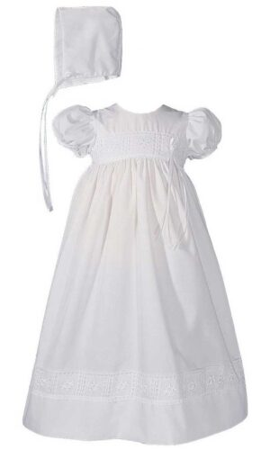 Girls 24? Poly Cotton Christening Baptism Gown with Rose Lace and Bonnet