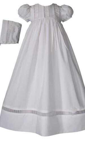 Girls 30? Poly Cotton Christening Gown with Organza Ruching Accents and Bonnet