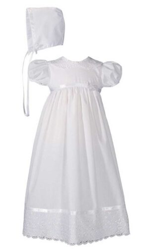 Girls 24? Poly Cotton Christening Baptism Gown with Lace Collar and Hem