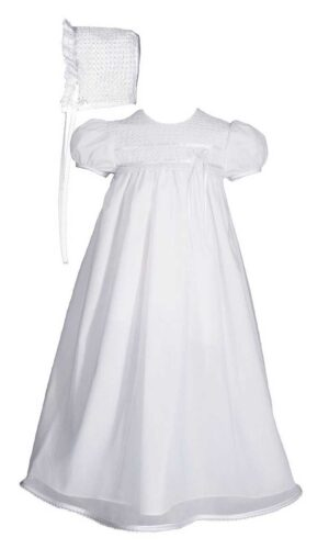 Girls 25? Tricot Overlay Christening Baptism Gown with Tatted Lace Bonnet