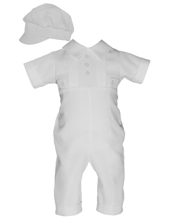Boys Waffle Pique Christening Baptism Coverall Hat