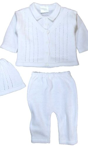 100% Cotton Knit White Boys Infant 3 Piece Collared V-Neck Button Up Look Sweater and Pants with Cap Gift Set