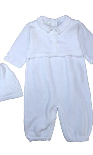 100% Cotton Knit White Boys Infant 2 Piece Long Sleeve Collared Romper with Cap Gift Set