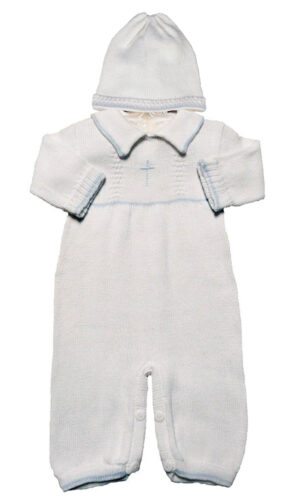 Boy's White Cotton Knit Christening Baptism Longall w/ White, Blue, or Gold Cross and Hat