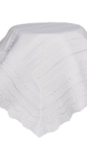 White Knit Baby Christening Shawl for Baptism