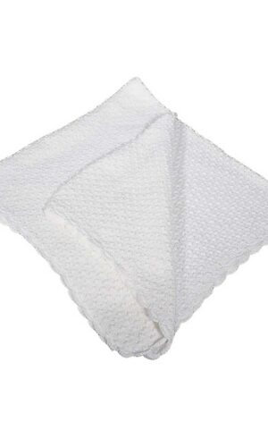 White Cotton Hand Crochet Shawl with Popcorn Pattern