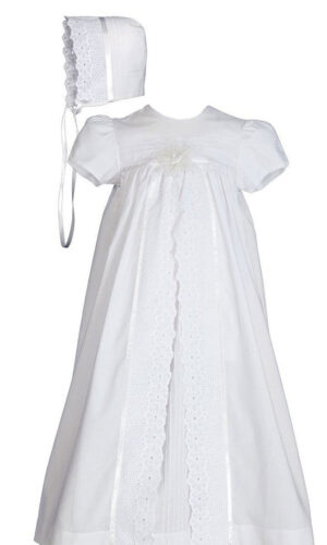 "Girls 25"" Split Panel Cotton Dress Christening Gown Baptism Gown"