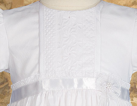 "Girls 23"" Victorian Lace Heirloom Christening Gown with Handkerchief Hem"