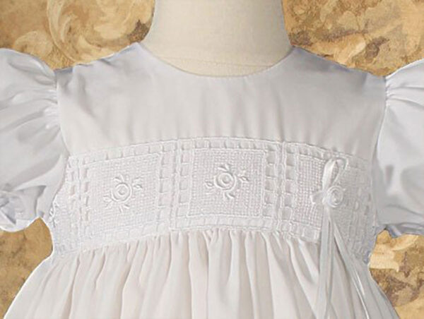 """Girls 24"""" Poly Cotton Christening Baptism Gown with Rose Lace and Bonnet"""