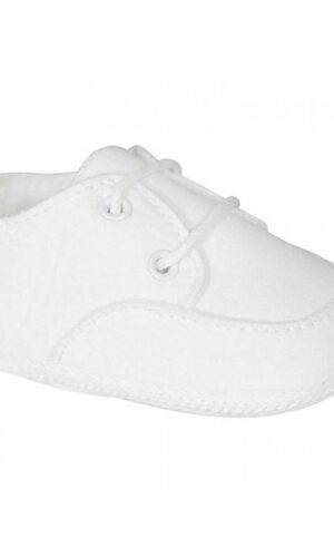 White Poly-Cotton Oxford Christening Baptism Crib Shoes