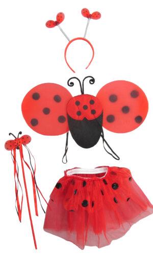 Red Ladybug Toddler Girl's Dress-Up or Costume Wing & Tutu 4 Piece Set