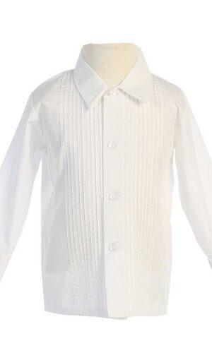 Boys Long Sleeve Pleated Tuxedo Dress Shirt