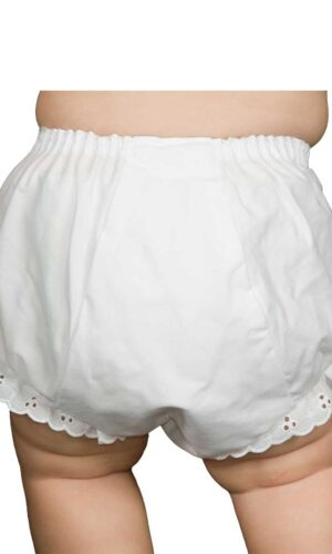 Baby Girls White Double Seat Diaper Cover Bloomers with Eyelet Edging