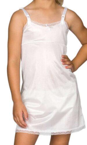 Girls Simple White Empire Waist Nylon Adjustable Slip with Lace Trim