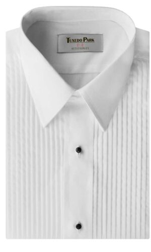 Boys or Mens Tuxedo White Laydown Collar 1/4? Pleat Suit Dress Shirt