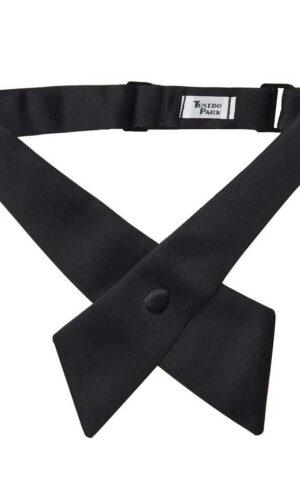 Boys Black Satin Crossover Tie