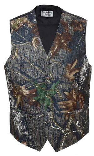 Boys or Mens Satin Camouflage Vest & Tie