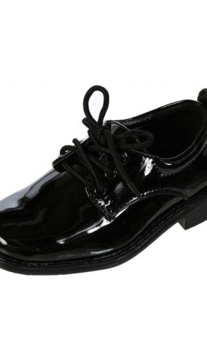 Boys Square Toe Lace Up Oxford Patent Dress Shoes