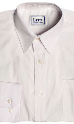 Boys White or Ivory Long Sleeve Wrinkle Resistant Dress Shirt