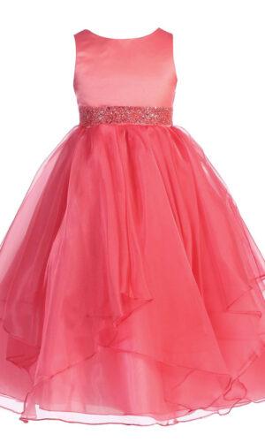 Asymmetric Ruffles Satin/Organza Flower Girl Dress