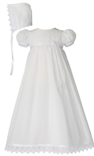 Girls 26? Cotton Christening Gown with Italian Lace