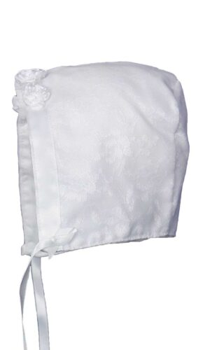 Baby Girls White Poly-Cotton Christening Baptism Hat with Lace Overlay and Flower Accents