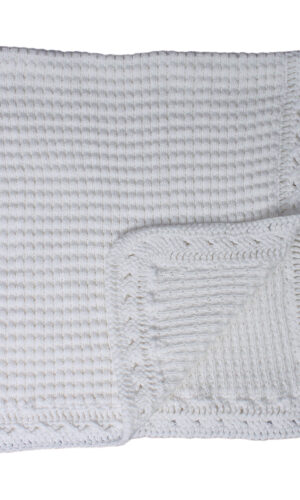 BT-M383 Hand Crochet White Cotton Shawl Blanket with Ripple Pattern